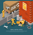 animal control service isometric poster vector image vector image