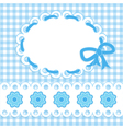 baby card with blue stripes and flowers vector image vector image