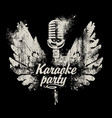 banner karaoke party with a microphone and wings vector image vector image
