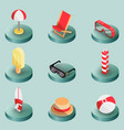 beach outline isometric icons vector image vector image