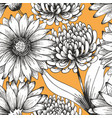 beautiful flowers on a yellow background seamless vector image vector image