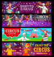 big top tent circus banners funfair carnival show vector image vector image