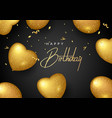 birthday elegant greeting card with gold balloons vector image