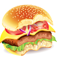 Bitten hamburger photo realistic vector image vector image
