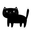 black cat kitten kitty icon funny face cute vector image vector image