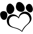 Black Love Paw Print vector image