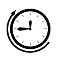 black silhouette clock face with deadline time vector image vector image