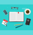 book or notebook diary open on learning desk table vector image vector image