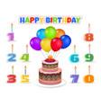 Cartoon birthday cake with balloons
