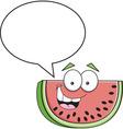 Cartoon slice of watermelon with a caption balloon vector image vector image