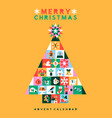 christmas folk pine tree icon advent calendar vector image