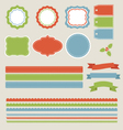 christmas labels borders ribbons tags set vector image vector image