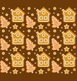 christmas seamless pattern with gingerbread house vector image vector image