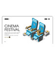 cinema festival banner movie chairs with popcorn vector image