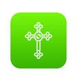 cross with diamonds icon digital green vector image vector image