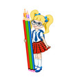 cute schoolgirl with color pencils vector image vector image