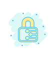 cyber security icon in comic style padlock locked vector image vector image