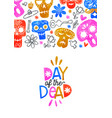 day dead card colorful watercolor skull art vector image vector image