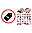 Discount Tag Flat Icon with Bonus vector image
