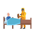 doctor with biosafety suit attending old man vector image vector image