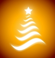 Elegant Christmas tree with glow on gold vector image vector image