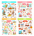 fishing ice cream summer and sushi items vector image vector image