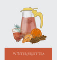 glass transparent teapot or pitcher with strainer vector image vector image