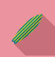 green striped surfboard icon flat style vector image vector image