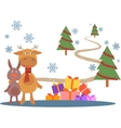 Greeting card with deer and rabbit vector image vector image