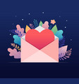 happy valentines day love letter concept big vector image vector image