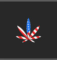 hemp leaf and usa flag logo mockup creative vector image