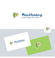 leaf logotype with business card template elegant vector image