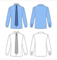Long sleeve mans shirt tie outlined template vector image vector image