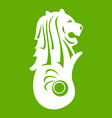merlion statue singapore icon green vector image vector image