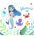 mermaid background underwater life with cartoon vector image