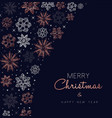 merry christmas copper snowflake greeting card vector image vector image