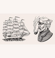 nautical sailing ship in sea captain or vector image vector image