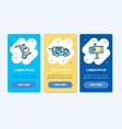 oneboarding app screens cards delivery service set vector image vector image