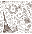 Paris winterDoodle christmas seamless pattern vector image vector image