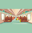 passenger train wagon interior cartoon vector image