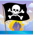 pirate banner theme 3 vector image