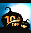 pumpkin silhouette on dark blue sky with full moon vector image