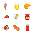 Quick snack icons set cartoon style vector image vector image