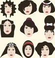 Retro of womans hairstyle vector image vector image