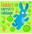 Running rabbit with carrot and cabbage vector image