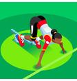 Running Starting Blocks 2016 Summer Games 3D Flat vector image vector image