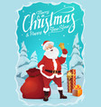 santa claus jingle bell and gifts snowy forest vector image