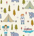 Seamless pattern with scout boys in the forest vector image vector image