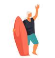 senior man surfing elderly surfer with board vector image vector image
