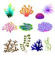 set of underwater plants underwater plant vector image vector image